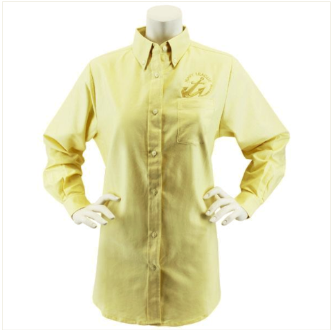 Vanguard NAVY LEAGUE WOMEN'S BUTTER LONG SLEEVE OXFORD SHIRT WITH GOLD LOGO - XL