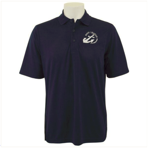 Vanguard NAVY LEAGUE MEN'S NAVY PERFORMANCE POLO SHIRT WITH WHITE LOGO MEDIUM