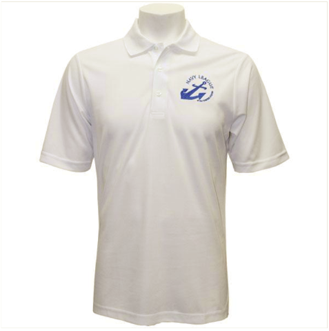 Vanguard NLCC MEN'S WHITE PERFORMANCE POLO SHIRT WITH BLUE LOGO - 2XL