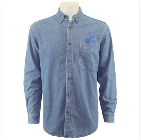 Vanguard NAVY LEAGUE MEN'S LIGHT BLUE DENIM LONG SLEEVE SHIRT W/ BLUE LOGO - XL