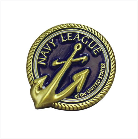 Vanguard NAVY LEAGUE LAPEL PIN ON BLUE BACKGROUND