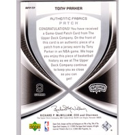 2005-06 SP GAME USED AUTHENTIC FABRICS PATCHES #TP TONY PARKER /75