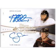 JONAS HILLER CAM FOWLER 2011-12 UD SP Authentic Sign Dual Auto Card 11/12 DUCKS  (x)