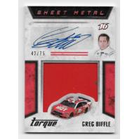 Greg Biffle NASCAR 2016 Panini Torque red sheet metal swatch auto /75 Autograph  (x)