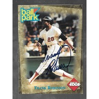FRANK ROBINSON 1995 Ball Park Franks Collector's Edge Autograph