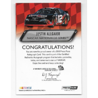 Justin Allgaier NASCAR 2010 Press Pass Authentics auto blue Autograph