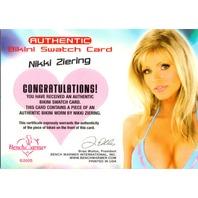 NIKKI ZIERING 2005 Bench Warmer Bikini Swatch Auto Card 8/25 Benchwarmer #NZ