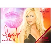 TIFFANY TOTH 2011 Benchwarmer Limited KISS 1/1 Red Foil Card Auto REAL LIPSTICK