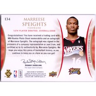 MARREESE SPEIGHTS 2008-09 SP Authentic Rookie Card Jersey Patch Auto 217/499