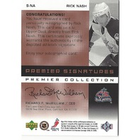 Rick Nash 2002-03 UD Premier Collection Signatures Bronze On Card Autograph Auto