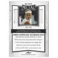 Anna Karolina Schmiedlova 2016 Leaf Metal Tennis Purple /25 Autograph Card