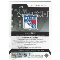 Jesper Fast NY Rangers 2013-14 SP Authentic  Future Watch Rookie Autograph /999