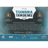 Craig Anderson Jason Spezza 2013-14 UD Artifacts Tundra Tandems Blue Senators