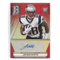 JAMES WHITE 2014 Panini Spectra Prizms Red RC auto /10 New England Patriots