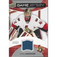 Craig Anderson 2012-13 Upper Deck UD Series 1 Game Jersey GJCA Ottawa Senators