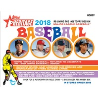 Three(3) 2018 Topps Heritage Baseball Hobby 9 Card PACK (Factory Sealed)(Random)
