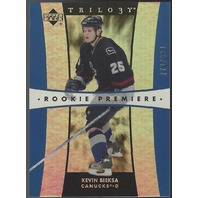 Kevin Bieksa 2005-06 Upper Deck UD Trilogy Rookie Premiere RC Anaheim Ducks /999