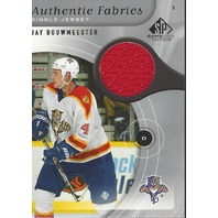 Jay Bouwmeester 2005-06 Upper Deck UD SP Game Used Authentic FAbric Jersey Blues