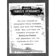 RONALDO SOUZA 2011 Leaf UFC MMA Metal Famous Nicknames Signature auto FMRS1
