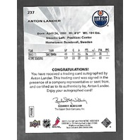 Anton Lander 2011-12 SP Authentic Hockey Future Watch RC Autograph Auto /999