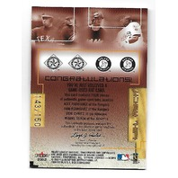 A.RODRIGUEZ/I.RODRIGUEZ/CHAVEZ/TEJADA 2002 Box Score MLB Bat Rack game used/150