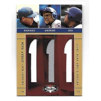 GUERRERO/SOSA/RODRIGUEZ 2003 Fleer Box Score MLB Jersey Rack game used patch/350