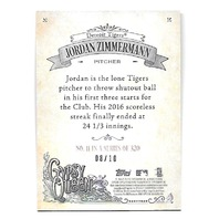 JORDAN ZIMMERMAN 2017 Topps Gypsy Queen Red 8/10 Detroit Tigers #11