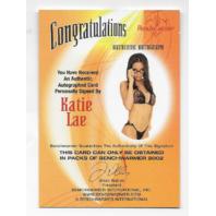 Katie Lae 2002 Benchwarmer Authentic auto glasses Autograph