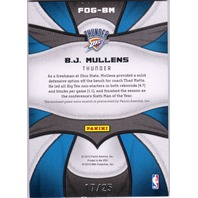 B.J. MULLENS 2009-10 09/10 Certified Fabric Game Prime Jersey Patch Card 17/25