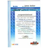 JASON KELLER 2003 Wheels Autograph Signed Card Auto NASCAR BV$15
