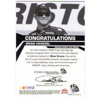 BRIAN VICKERS 2008 Press Pass Signings Bronze Autograph Auto On Card BV$15 (x)