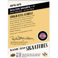 WALTER SHARPE 2008-09 Same Day Signatures Rookie Autograph Auto On Card BV$15