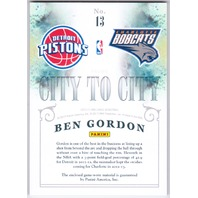 BEN GORDON 2012-13 Brilliance City to City Jersey Dual Prime Patch 6/25 Bobcats