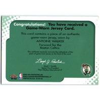 ANTOINE WALKER 2001-02 Fleer E-X Behind the Numbers Game Used Jersey Card