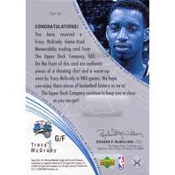 TRACY McGRADY  2002-03 UD SPX Materials Shooting Shirt + Warm-Up Card SP BV$20