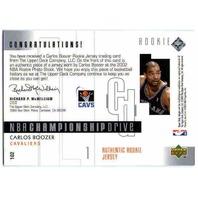 CARLOS BOOZER 2002-03 Upper Deck Championship Drive 43/400 Rookie Jersey Card