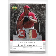 RYAN ZIMMERMAN 2007 Upper Deck Premier Patches /75 3 color Nationals