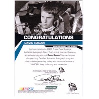 DAVID RAGAN 2008 Press Pass Signings Autograph Auto On Card #50