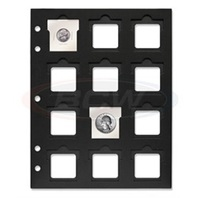 BCW 2x2 Slotted Paper Page for 3 Ring Binder Black Holds 12 Coin Flips