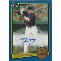 MANNY MACHADO 2017 Panini Donruss Baseball Blue Refractor Autograph /49