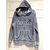 MAJESTIC New York Yankees Gray Full Zip Distressed Hoodie Jacket Size S Baseball