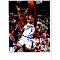 1993/94 Byron Houston & Keith Jennings Warriors NBA Photos Autograph TO LAURA