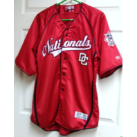 True Fan Washington Nationals Red Button Front Jersey Shirt Size L MLB Baseball