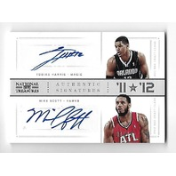 TOBIAS HARRIS/MIKE SCOTT 2012-13 Panini Playoff National Treasure auto/10 Autograph