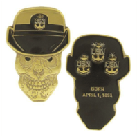 """Vanguard COIN: 2"""" NAVY FEMALE CHIEF PETTY OFFICER SKULL"""