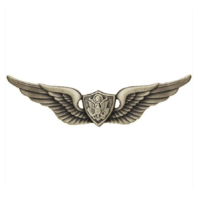 Vanguard ARMY BADGE: AIRCRAFT CREWMAN: AIRCREW REGULATION SIZE, SILVER OXIDIZED
