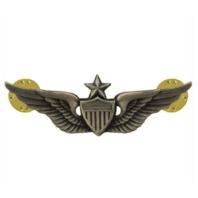 Vanguard ARMY BADGE: SENIOR AVIATOR - REGULATION SIZE, SILVER OXIDIZED