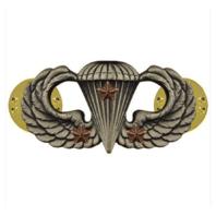 Vanguard ARMY BADGE: COMBAT PARACHUTE THIRD AWARD - SILVER OXIDIZED