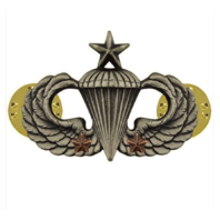 Vanguard ARMY BADGE: SENIOR COMBAT PARACHUTE SECOND AWARD - SILVER OXIDIZED