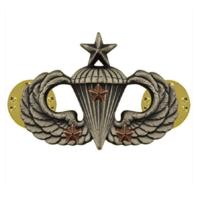 Vanguard ARMY BADGE: SENIOR COMBAT PARACHUTE THIRD AWARD - SILVER OXIDIZED